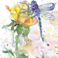 Dragonfly Art Insect Print  Abstract Watercolor Flowers Painting, dragonfly Gifts, Watercolour, Wall art, dragonfly print, Botanical art