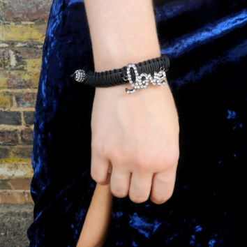 Leather Love Bracelet, Black Leather Bracelet, Stacking Bracelet, Macrame Bracelet, Leather Cuff, Leather Bangle, Boho Bracelet