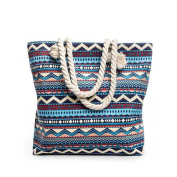 Women Canvas bohemian style striped Shoulder Beach Bag