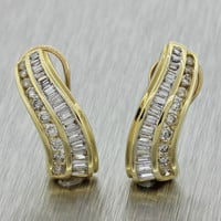 $5000 Vintage Estate 14k Solid Yellow Gold 1.50ctw Baguette Diamond Earrings