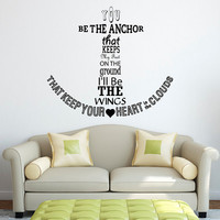 Nautical Anchor Wall Decal Quote You Be The Anchor That Keeps My Feet On The Ground Wall Decals Quotes Vinyl Stickers Wall Lettering Q081