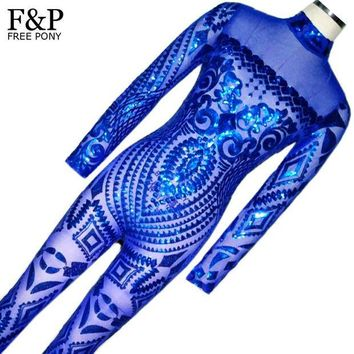 CREYONHS Blue Rompers Womens Jumpsuit Romper Sexy Gold Geometric Tattoo Sequin Jumpsuit Women Long Sleeve Sequined Women Bodysuit Catsuit