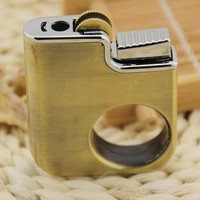 Creative fun finger ring portable metal gas cigarette lighter metal fire lighters creative new wheels