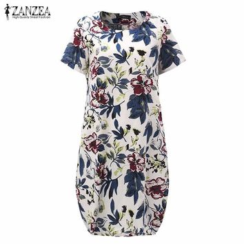 Hot Sale Summr ZANZEA Women Vintage Floral Print Dress Short Sleeve Loose Casual Midi Sexy Dress Vestidos Plus Size