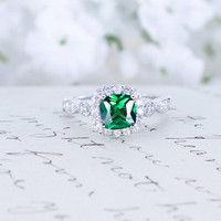 Emerald Engagement Ring - Cushion Cut Ring - Art Deco Ring - Halo Engagement Ring - Wedding Ring - Sterling Silver - May Birthstone