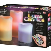 Luma Candles Real Wax Flameless Candles with Remote Control Timer, 3 Candle Set