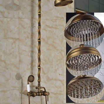 Luxury Antique Brass Round Rain Shower Faucet Set Classic Bars Shower Mixer Tap + Ceramic Hand Shower Sprayer