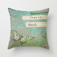 Gypsy Soul Throw Pillow by Ally Coxon