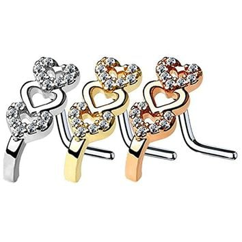BodyJ4You 3PCS 20G Nose Ring L-Shape Stud CZ Paved Heart Surgical Steel Nostril Piercing Jewlery