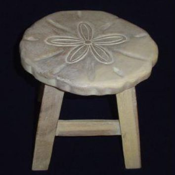 Sand Dollar Hand Carved Wood Footstool - Whitewash Finish