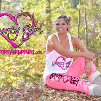 neon pink heart hook and heart antler sweat pants