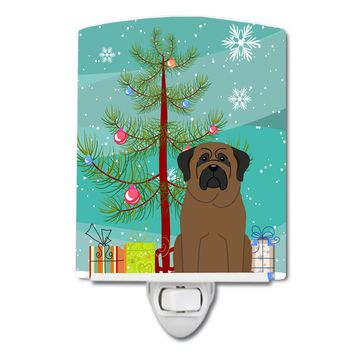 Merry Christmas Tree Bullmastiff Ceramic Night Light BB4209CNL