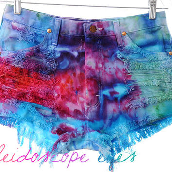 Vintage Wrangler COLORFUL Marbled Dyed Denim High Waist Cut off Shorts M L