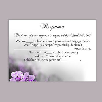 DIY Wedding RSVP Template Editable Word File Instant Download Rsvp Template Printable RSVP Cards Purple Rsvp Card Floral Rsvp Template