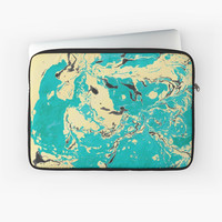 'Green and gold marble texture.' Laptop Sleeve by kakapostudio