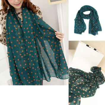 Green New Style Real chiffon Classic Polka Dot Scarf Long Chiffon Scarf Women's Korean Version Silk Scarf High Quality