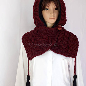 Hand Cable Knit Hooded Boho Style Scarf Acrylic Bordo Wine Pom Pom Hat Hood  Chunky Hooded Cowl Winter Off White Handmade Eco Friendly