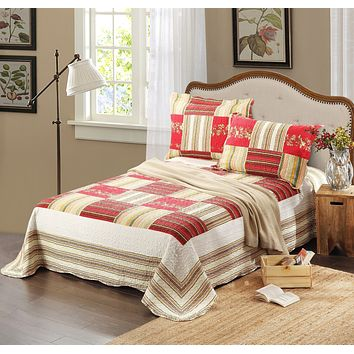 Tache 3 PC Red Print Patchwork Checkmate Bedspread Quilt Set (SD8039)