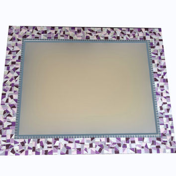 Purple, Silver, Gray Mosaic Wall Mirror -- Custom Made