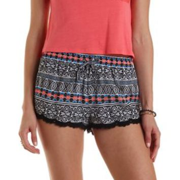 Black Combo Boho Print Lace-Trim Shorts by Charlotte Russe