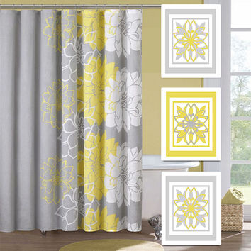 Modern Abstract Ornamental Floral Flower Flourish Artwork Set of 3 Trio Prints Yellow Grey Wall Art Decor Bathroom Bedroom Bath Home Picture