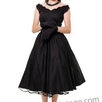 QUEEN OF HEARTZ 1950's Style Black Cotton Sateen Scallop Brenda Swing Dress - Unique Vintage