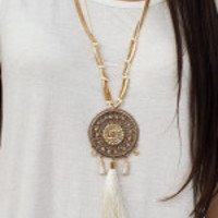 Dream Catcher  Necklace with Beaded Accents and Tassel