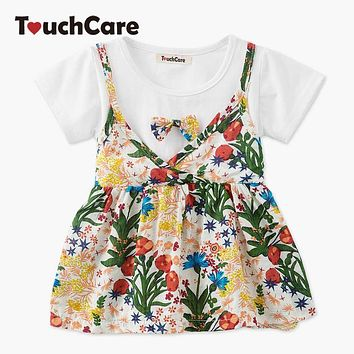 Two Pieces Baby Girl Dress Bow knot  Short Sleeve Baby Clothes A-line Baby Christening Dress Princess Dresses