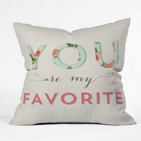 Allyson Johnson Floral You Are My Favorite Throw Pillow