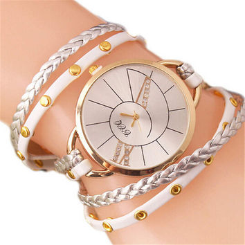 Womens Handmade Leather Strap Bracelet Watches Fashion Girls Casual Watch Best Christmas Gift