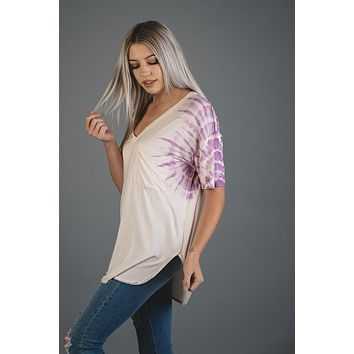 Blush Pocket Tee with Lilac Tie Dye Detail