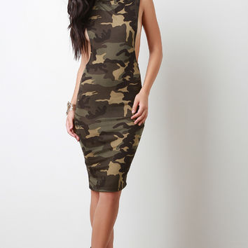 Camouflage Dropped Arm Hole Midi Dress