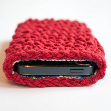 Iphone 5 case, Iphone 5s cover, Crochet Iphone 5 case, Iphone 5 sleeve, Crocheted Iphone 5 case with lining,phone wallet,Christmas gift idea