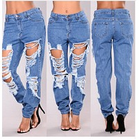 shredded denim fit jeans ripped