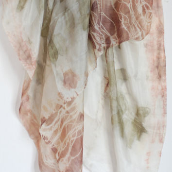 Silk Eco Botanical Printed Scarf,  Israel Nature Prints, Square Scarf, Suzanne Dekel Jewish Art,