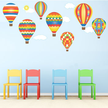 Hot Air Balloons & Clouds in Red, Blue Yellow Wall Stickers