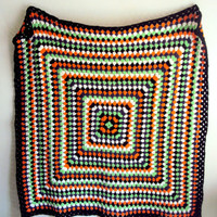 Retro Crochet Afghan Blanket Traditional Granny Square Throw Lap Cover Baby Blanket Home Decor Home and Living Housewares Gift Ideas
