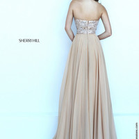 Sherri Hill 50305 Strapless Beaded Floor Length Chiffon Prom Dress – Off White by Bridal Expressions