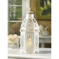 White Lattice Romantic Cage Style Candle Lantern