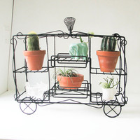 Vintage Metal Shelf - Circus Wagon - Wine Rack - Wine Bottle Holder - Plant stand