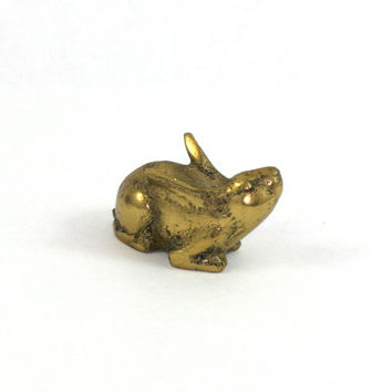 Vintage Brass Miniature Bunny Rabbit Paperweight Figurine