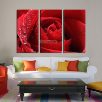 Extra Large Wall Art 5 Different Color Rose Canvas Print- Giclee Print Huge 3 Panel Rose Canvas Art Print - Framed Love Flower Floral