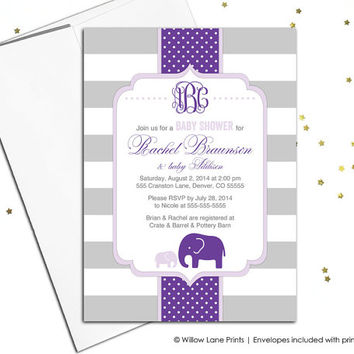 girl baby elephant shower invitation in purple and gray stripes, printable invitation, baby shower invite for baby girl printed - WLP00787