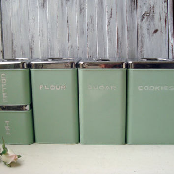 Lincoln Beautyware Vintage Canister Set, Mint Green Stackable Set of 5 Canisters, Mid Century Kitchen, Pastel Green Canister Set