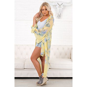 Floral Feeling Duster Kimono (Lt. Yellow/ Olive)