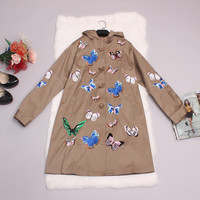 Brand Coat 2015 New Autumn Full Sleeve Hooded Button Butterfly Embroidery Famous Trench Coat