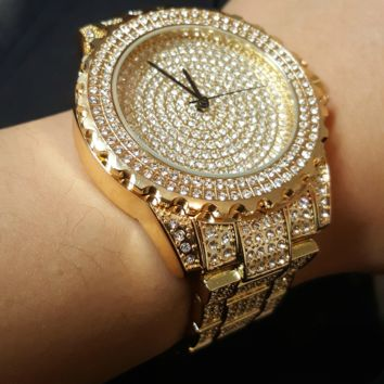 14k Gold Iced out Simulated Diamond Watch