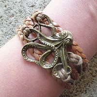 Big octopus bracelet wax rope and leather rope charm bracelet