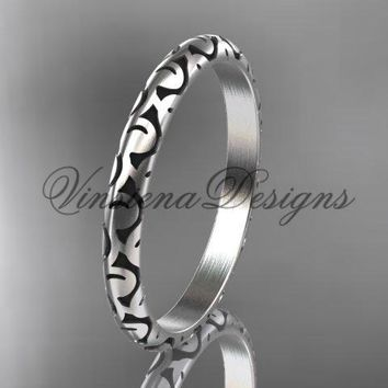 14kt white gold stackable, stacking ring, wedding band, midi ring, black enamel WB120020