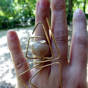 faceted natural chunky stone ring , nugold brass wire , modernist design, modern design , large ring , art ring , big rings , wire wrapped